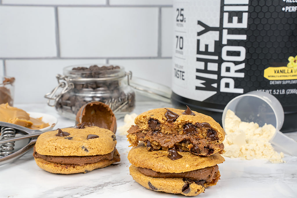 Chocolate Chip Protein Cookie Sandwiches