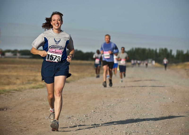 woman running in a race.