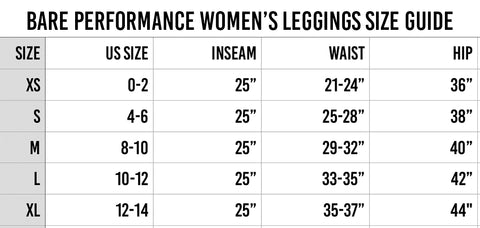Sizing Guide for Bare Performance Nutrition Athletic Gear