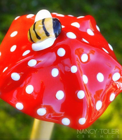 Bee Mushroom - Red and White Polka Dot
