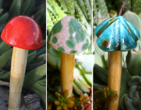 Garden Mushrooms - Set of 3 Mini-sized