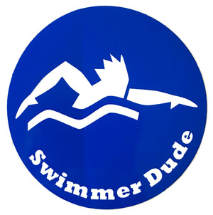 SWIMMER DUDE ROUND STICKER (BLUE)