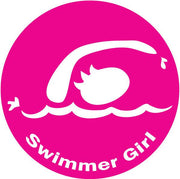 SWIMMER GIRL ROUND STICKER (PINK)