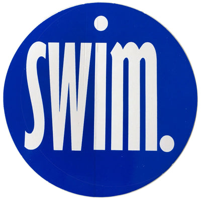 SWIMMER ROUND STICKER (BLUE)