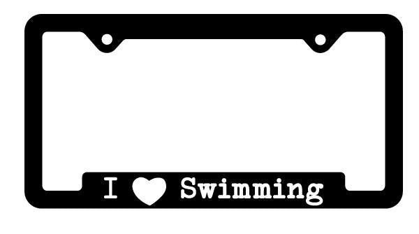 I HEART SWIMMING LICENSE PLATE FRAME (BLACK WITH WHITE PRINT)