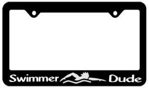 SWIMMER DUDE LICENSE PLATE FRAME (BLACK WITH WHITE PRINT)