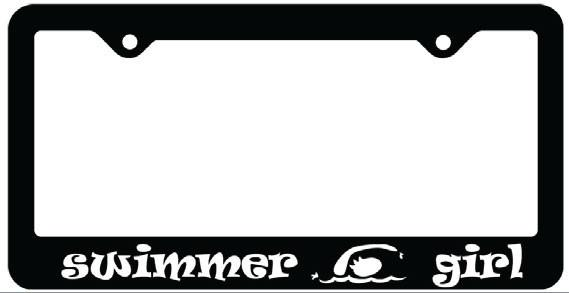 SWIMMER GIRL LICENSE PLATE FRAME (BLACK WITH WHITE PRINT)