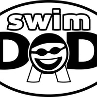 SWIM DAD OVAL MAGNET (WHITE WITH BLACK PRINT)
