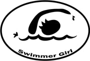 SWIMMER GIRL OVAL MAGNET (WHITE WITH BLACK PRINT)