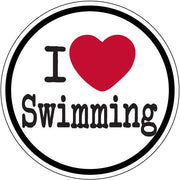 I HEART SWIMMING ROUND STICKER