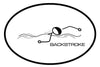 BACKSTROKE OVAL MAGNET (WHITE WITH BLACK PRINT)
