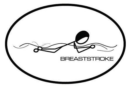 BREASTSTROKE OVAL MAGNET (WHITE WITH BLACK PRINT)
