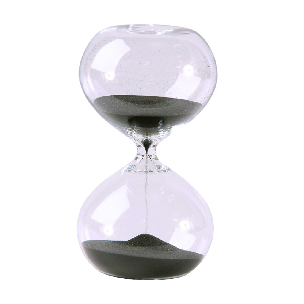 Modern Glass Sand Timer 30 Minute Black 5.5 inch