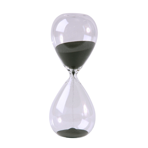 Modern Glass Sand Timer 30 Minute 8 inch Black