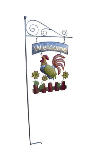 """Welcome"" Sign With Rooster - Double Sided"