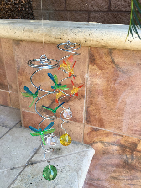 Mini Metal Spiral Hummingbirds - Yellow/Orange