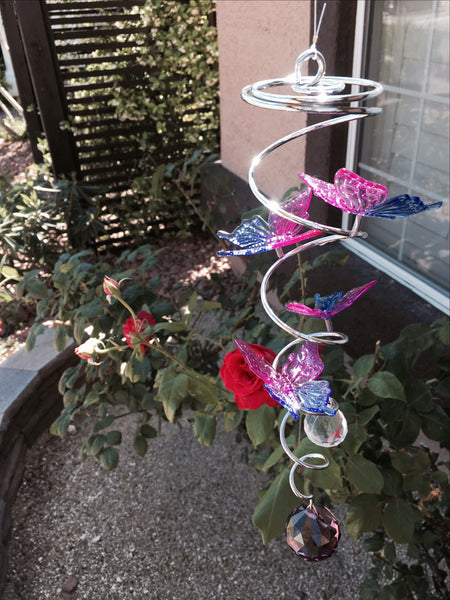Mini Metal Spiral Butterflies - Purple/Blue