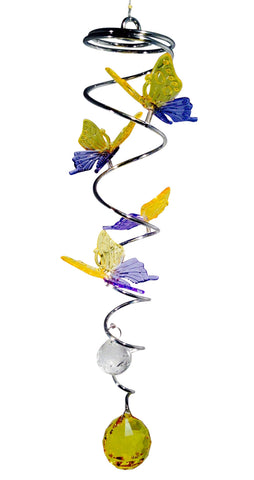 Mini Metal Spiral Butterflies - Yellow/Blue