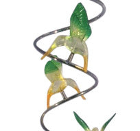 Mini Metal Spiral Hummingbirds - Yellow/Green