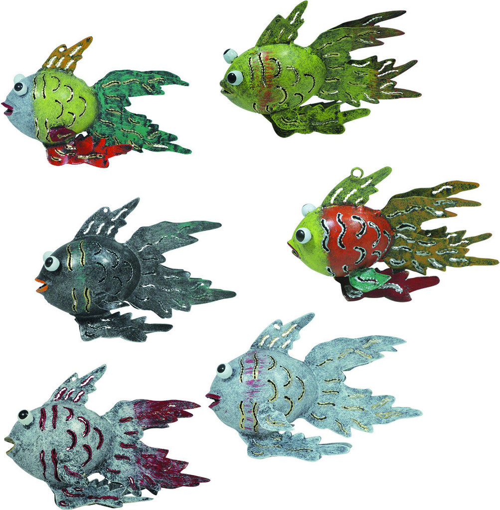"Garden Decor ""Tropical Fish"" Set Of 6 Assorted Colors"