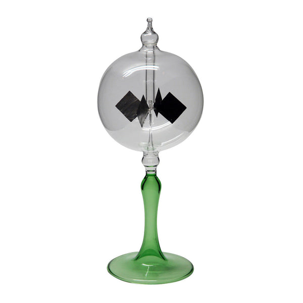 "Radiometer 2.25"" Diameter Clear Sphere Green Tapered Stem"