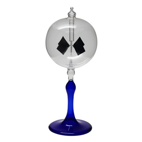 "Radiometer 3"" Diameter Clear Sphere Blue Tapered Stem"