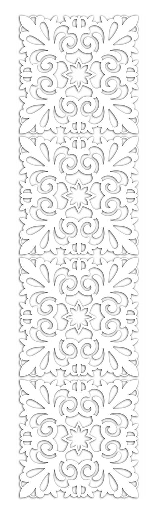 White Scrolling Pattern Cutout Screen Panel