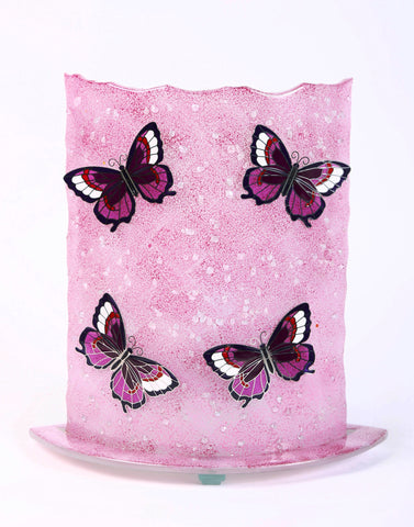 Glass Fusion Lamp  - Pink Butterflies With Light Bulb 12.5""
