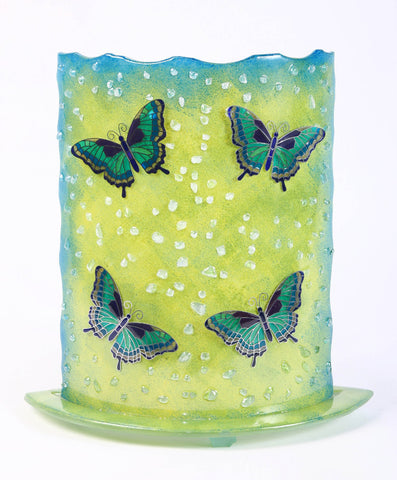 Glass Fusion Lamp  - Green Butterflies With Light Bulb 12.5""