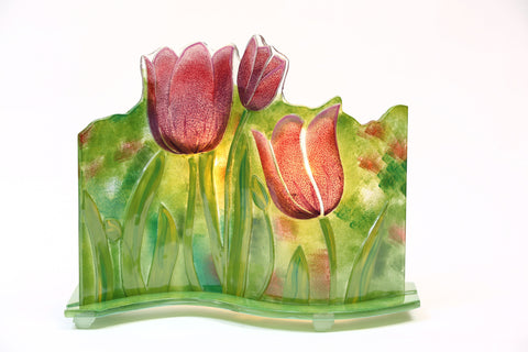 "Glass Fusion Lamp  - Lavender Tulips With Light Bulb 15"" x 12.5"""