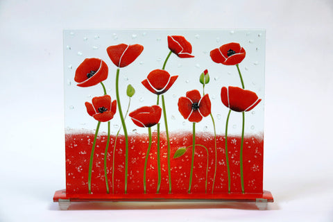 Glass Fusion Lamp  - Poppies With Light Bulb 12.5""