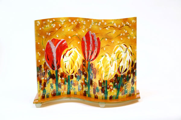 "Glass Fusion Lamp  - Field Tulips With Light Bulb 15"" x 12.5"""