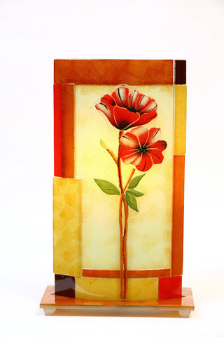 Glass Fusion Lamp  - Red Flowers With Light Bulb 19""