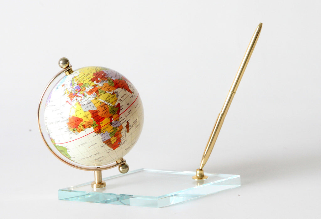 Tan Globe With Glass Base & Pen Holder 4""