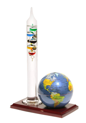 Earth Globe - Dark Blue Wood Base & Galileo Thermometer 4""