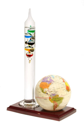 Tan Globe Wooden Base & Galileo Thermometer 4""