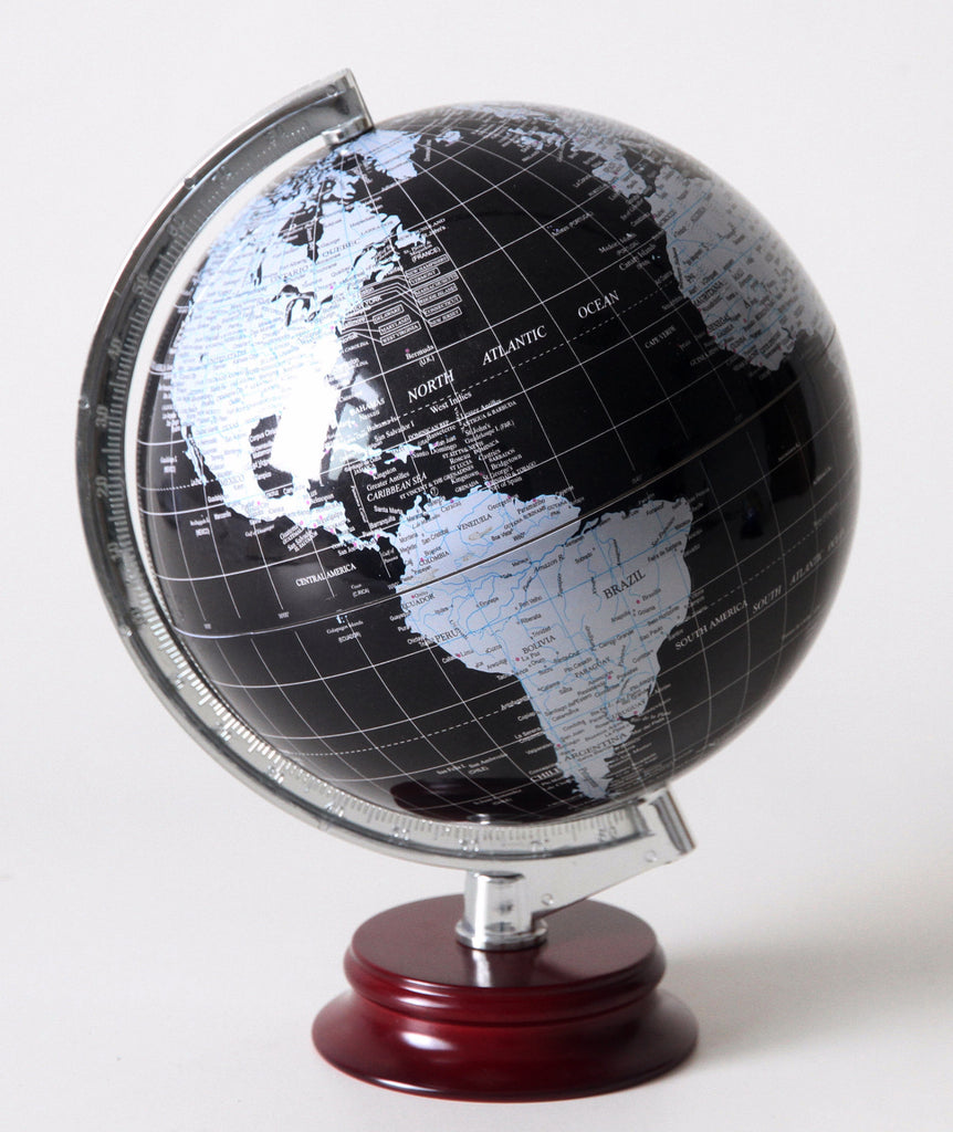 Globe With Wooden Base - Black 8""