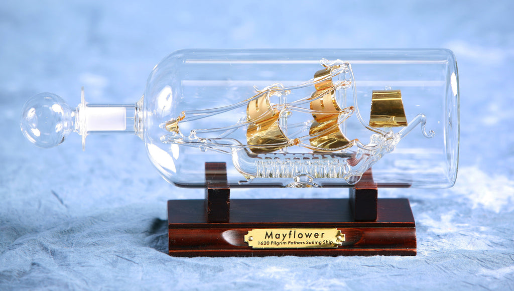 "Ship In Bottle - Mayflower Gilded 2.5"" Dia"