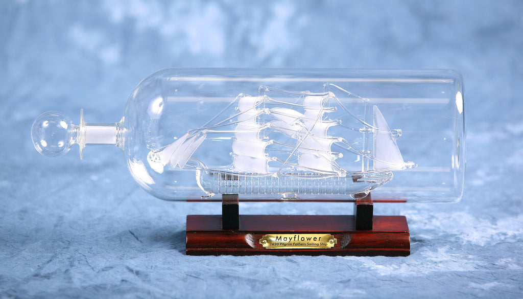 "Ship In Bottle - Mayflower 2.5"" Dia"