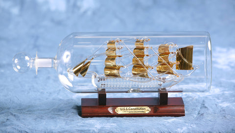 "Ship In Bottle - USS Constitution Gilded 4"" Dia."