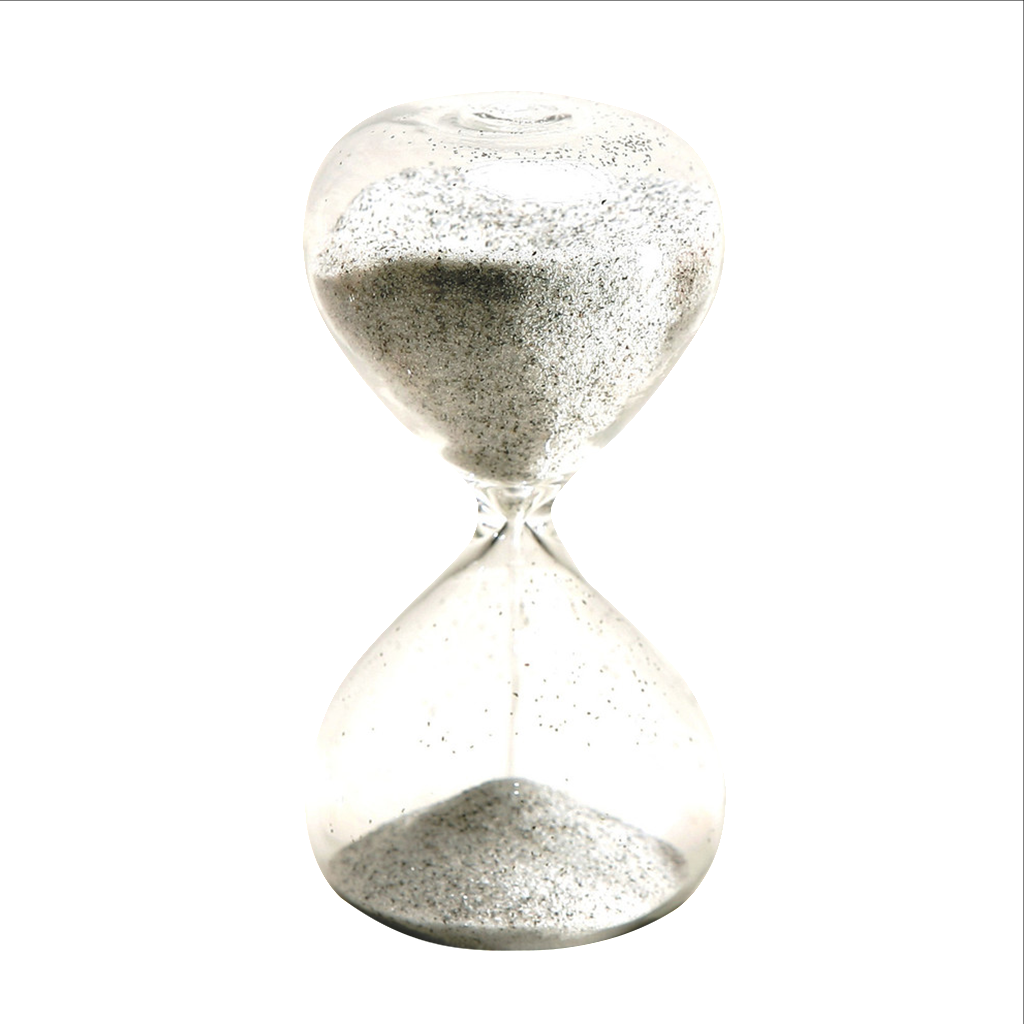 Glass Sand Timer 5 minute Black and White 4 inch Mini