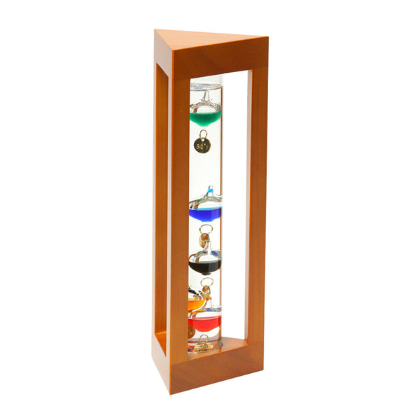 Galileo Thermometer in Natural Finish Triangle Wood Frame  12""