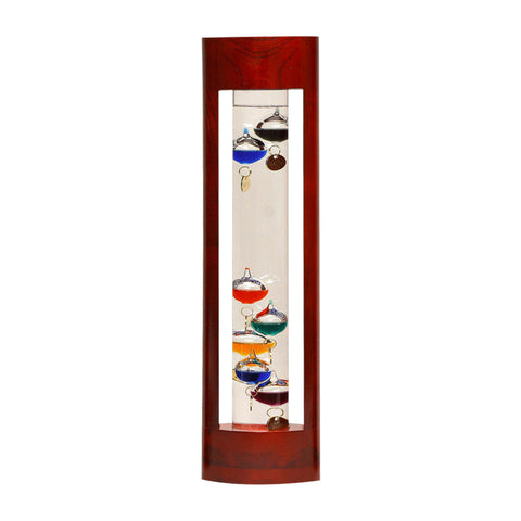 GALILEO THERMOMETER Great gifts for men CHERRY FINISH STAND 15""