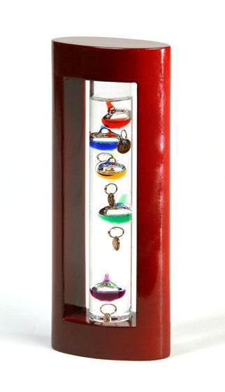 Galileo Thermometer- Cherry Finish Stand - 7""