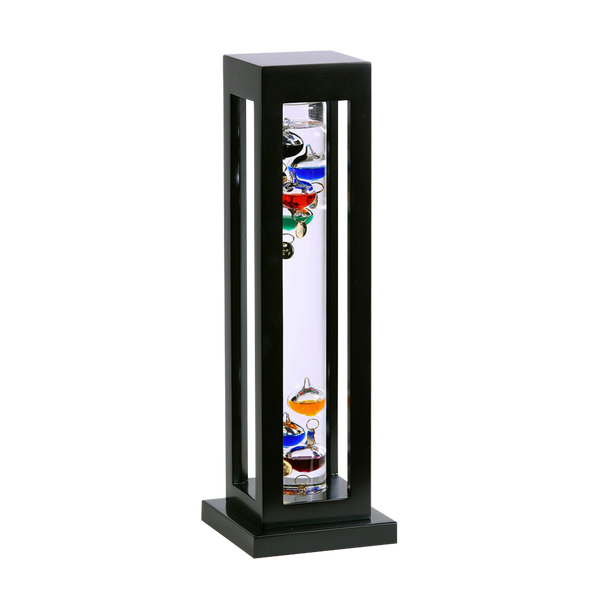 Galileo Thermometer Black Finish  Square Wood Frame 15""