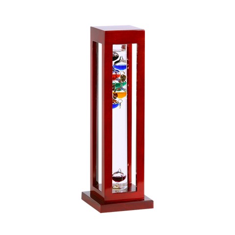GALILEO THERMOMETER CHERRY FINISH / SQUARE 15""