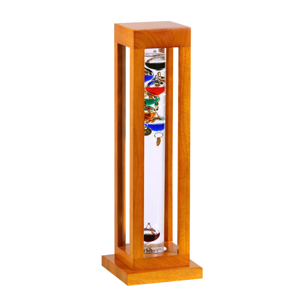 Galileo Thermometer in Natural Finish Square Wood Frame   15""