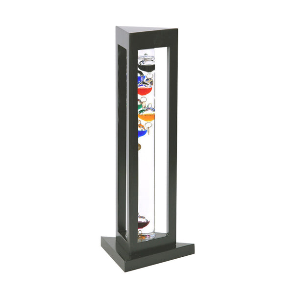 Galileo Thermometer in Black Finish Triangle Wood Frame  15""