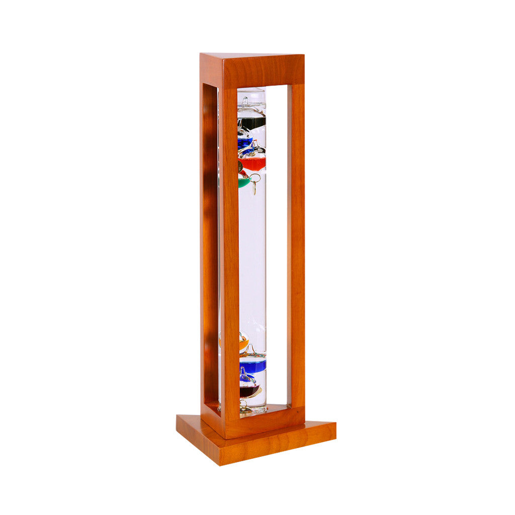 Galileo Thermometer in Natural Finish Triangle Wood Frame    15""