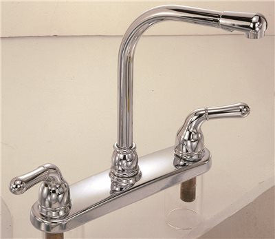 SANIBEL HI RISE KITCHEN FAUCET CHROME WITH SPRAY TWO LEVER HANDLES - Score Materials - 1